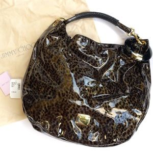 Jimmy Choo Leopard Patent Leather Large Hobo Bag